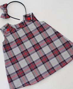 Детска рокля Каре сиво и червено