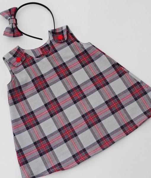 детска рокля червено и сиво каре