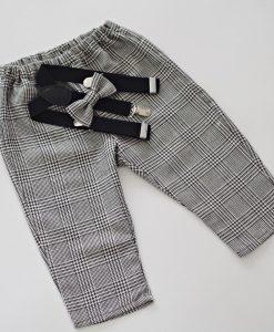 Коледен панталон за момче с тиранти и папийонка