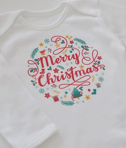 коледно бебешко боди с надпис merry christmas