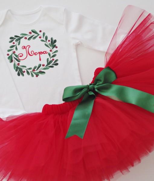 Коледен комплект за момиче Венец в червено