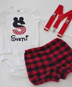 Комплект за момче Мики Маус в червено и черно каре