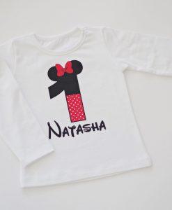 блуза за рожден с цифра и име Мини Маус