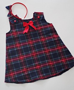 Детска коледна рокля Шотландско каре в червено и синьо