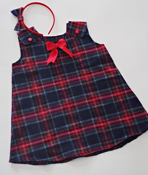 детска коледна рокля шотландско каре (2)