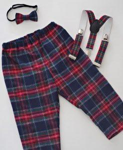 детски коледни панталони с тиранти и папионка каре