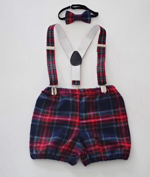 детски коледни панталонки с тиранти и папионка шотландско каре