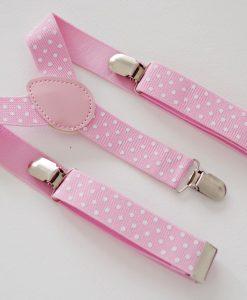Розови тиранти на бели точки