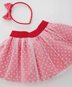 Детска пола от тюл в червено и бяло
