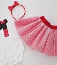 Комплект за рожден ден с цифра Мини Маус в червено и бяло