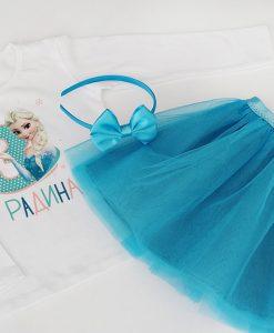 Детска пола и блуза за рожден ден Елза