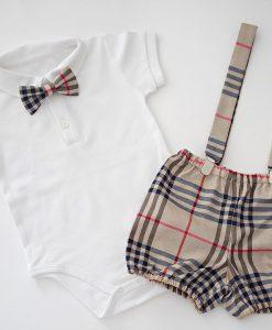 Бебешки комплект с боди и панталонки Бърбъри