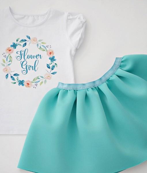 детски комплект от пола и блуза в цвят мента
