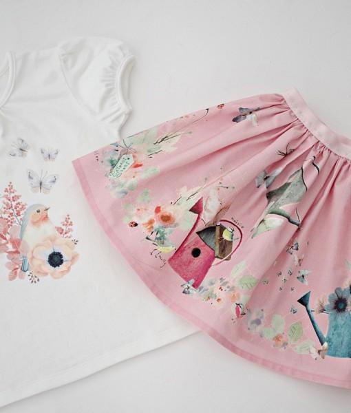 Комплект от пола и блуза пеперуди