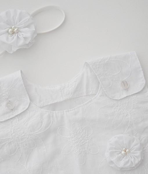 бебешка бяла рокля за кръщене