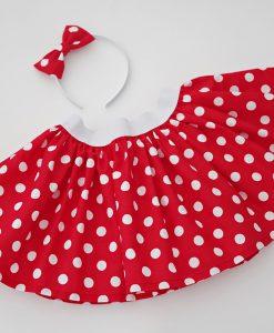 Детска червена пола на бели точки Мини Маус