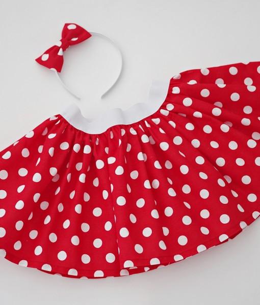 детска червена пола на бели точки (2)