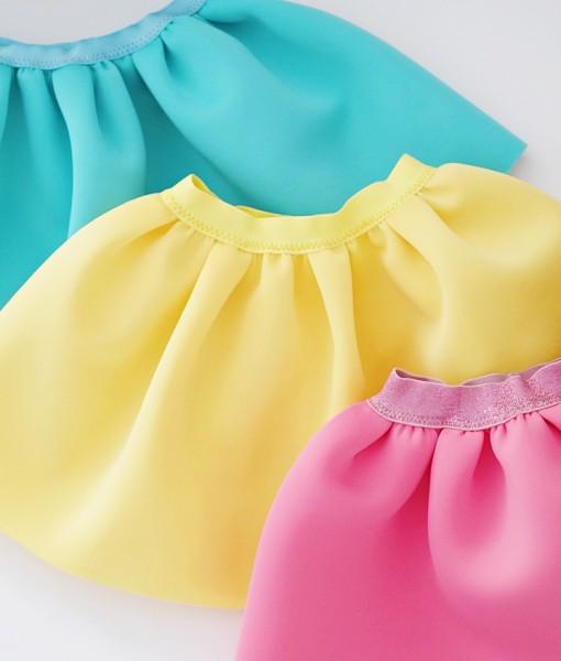 детски поли от неопрен в мента,жълто и розово