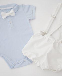 комплект за кръщене за момче в синьо и бяло