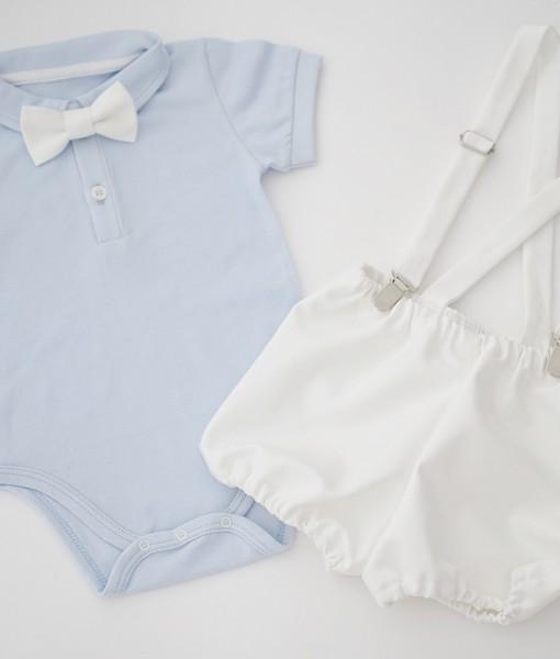 26d34388b15 Бебешки дрехи за кръщене в синьо и бяло - Точки и райета