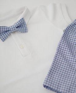 комплект за кръщене с панталонки и боди всиньо и бяло