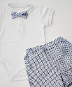 комплект за момче с боди,панталонки и папионка