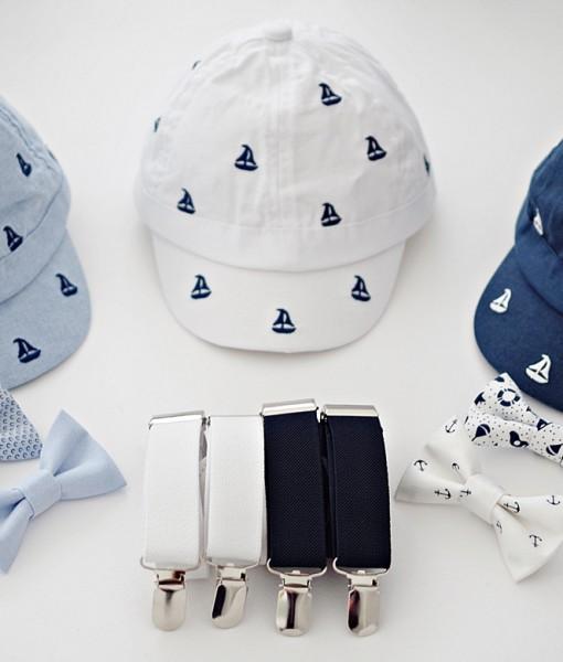 лятна шапка за момче в три цвята с транти и папионка