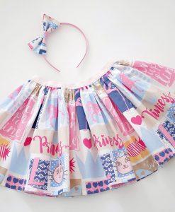 Детска пола в синьо и розово Принцеса