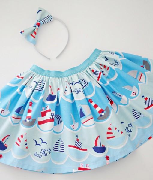 детска лятна пола с лодки