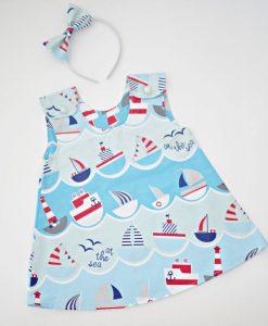 Детска лятна рокля с лодки