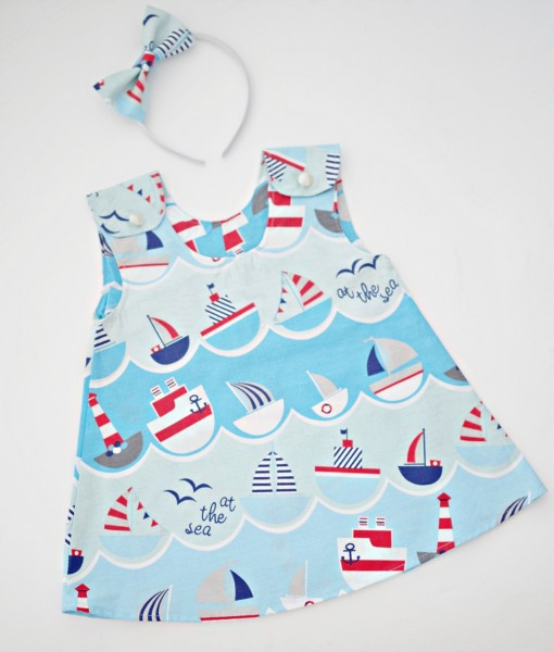 детска лятна рокля лодки