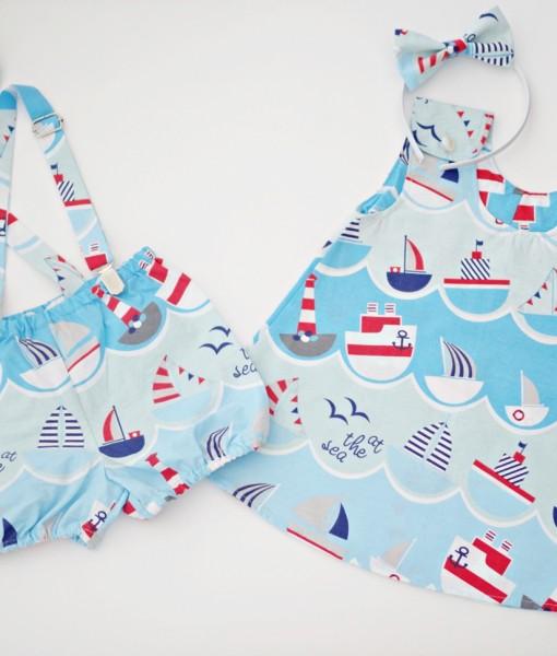 детска рокля и панталонки Лодки