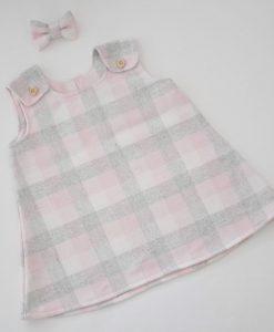 Бебешка рокля розово и сиво каре