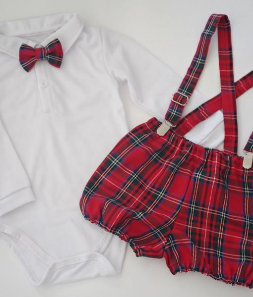 Коледен комплект за момче с бяло боди Шотландско каре в червено