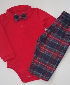 Коледен комплект с червено боди и панталон шотландско каре