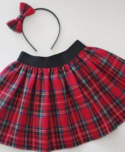 Коледна детска пола Шотландско каре в червено