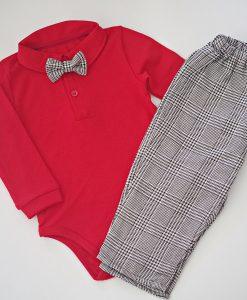 Комплект за момче с боди и панталон с папиока в червено и черно
