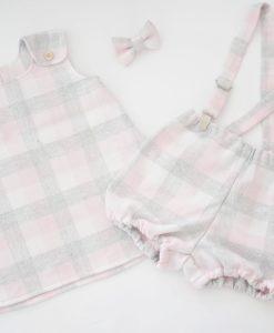 Рокля и панталонки сиво и розово каре