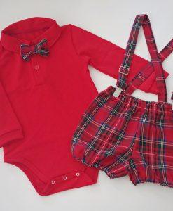 Коледен комплект за момче с червено боди и панталонки в червено каре