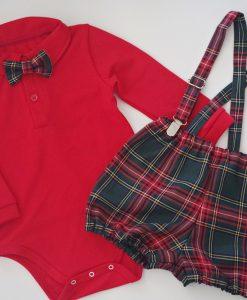 Коледен комплект за момче с червено боди и панталонки в зелено каре