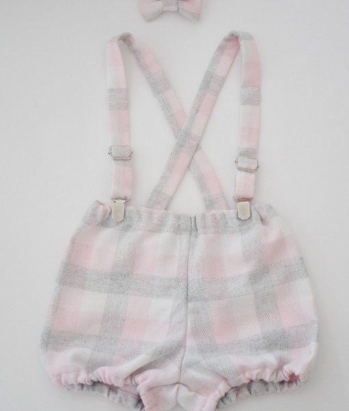 Панталонки за момиченце с тиранти и лента в сиво и розово