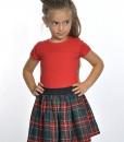 детска коледна пола шотландско каре в зелено