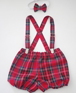 Коледни панталонки с тиранти и папионка Шотландско каре