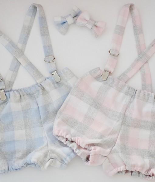 панталонки с тиранти и папионка в синьо и розово