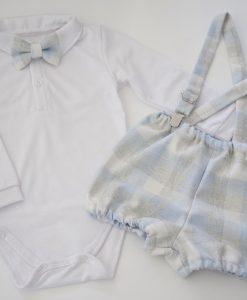 Комплект за момче с боди и панталонки в синьо и сиво каре