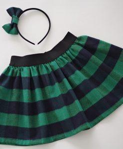 Детска коледна пола в зелено каре