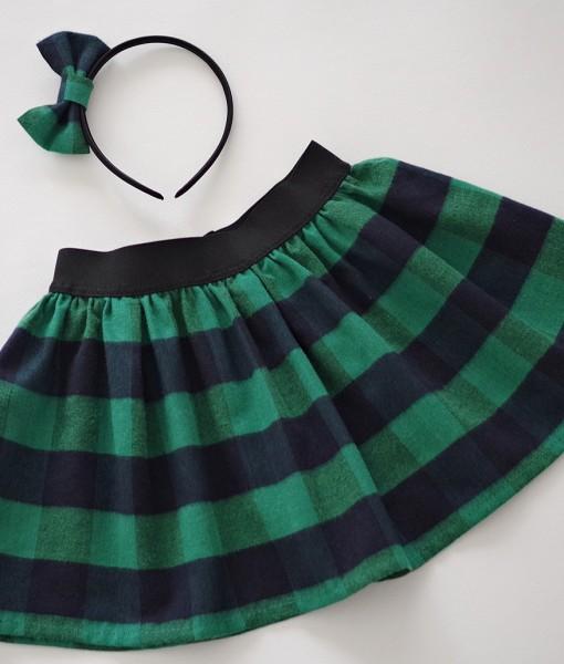 Коледна пола в зелено и тъмносиньо