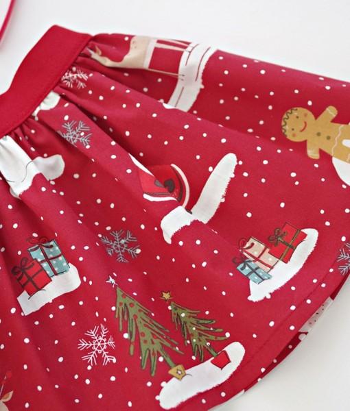 Коледна пола в червено и бяло