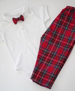 Бебешки коледни дрехи с боди, панталон и папионка в шотландско каре