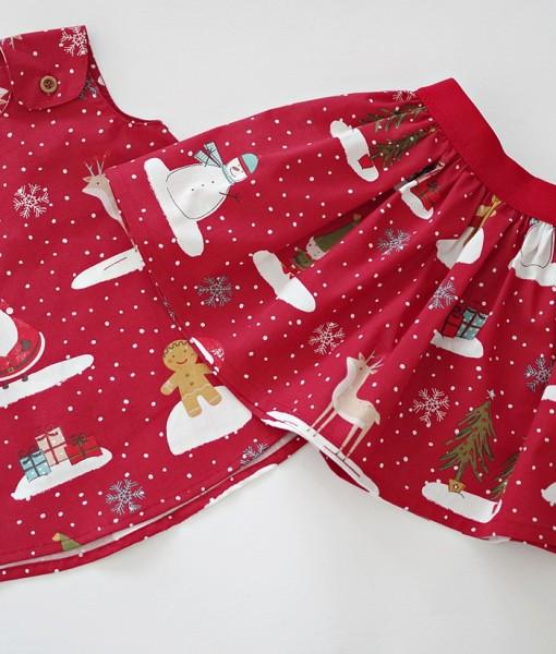 детска коледна пола и рокля в червено